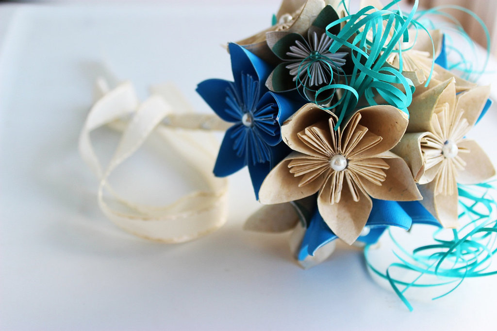 navy aqua and beige paper flower wedding bouquet