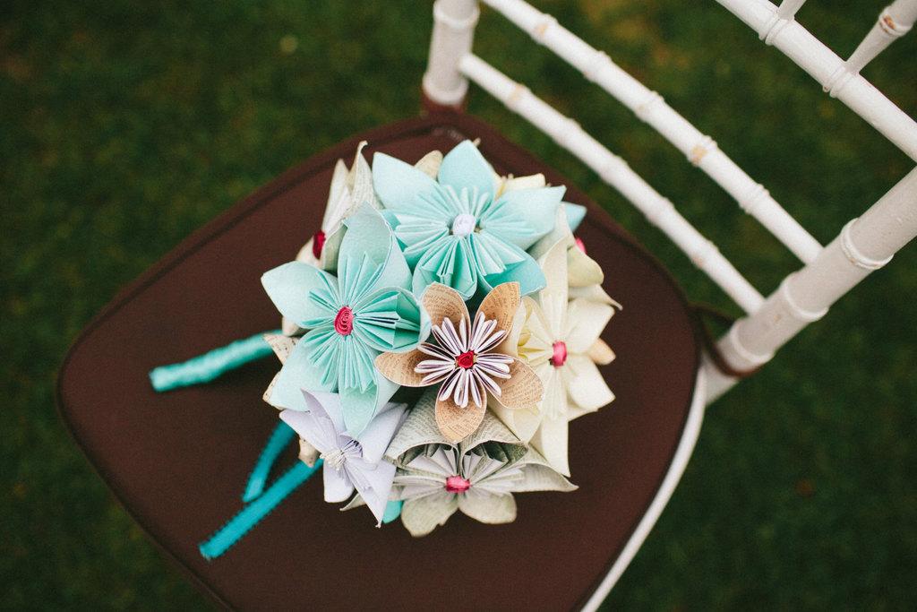 Origami flower wedding bouquet in pale aqua beige and ivory mightylinksfo