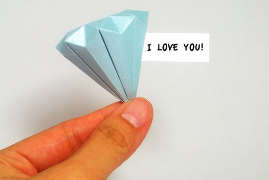 Origami diamond wedding favor with hidden message