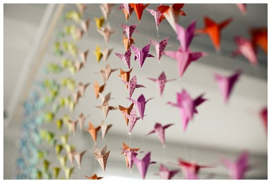 rainbow origami curtain at modern wedding reception