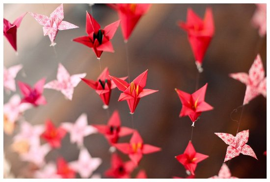 Red Origami Wedding Backdrop