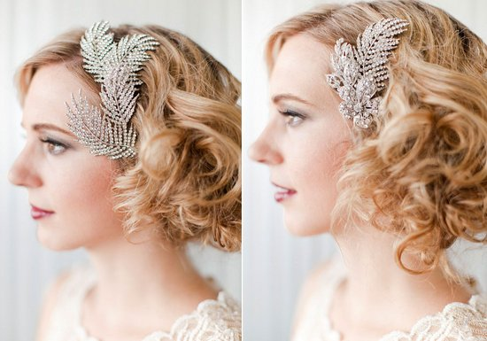 Vintage bridal hair combs, retro wedding hairstyle