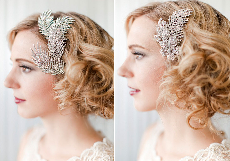 Vintage bridal hair combs, retro wedding hairstyle | OneWed.com