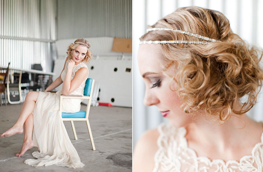 1920's-inspired Bridal Style With Sheath Wedding Dress