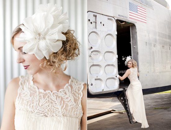 Oversized Bridal Hair Flower With Vintage Lace Wedding Dress
