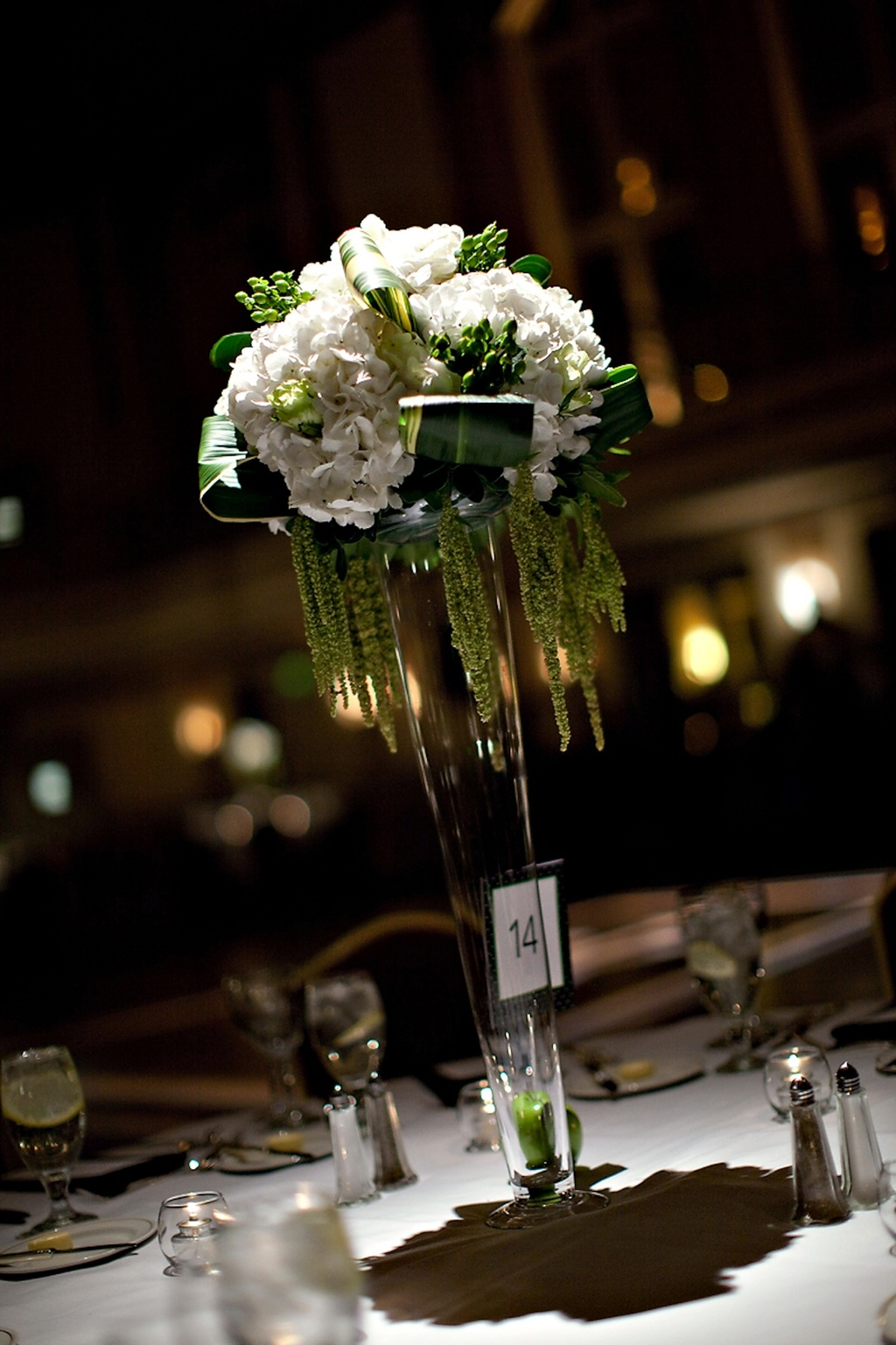 High wedding reception centerpiece