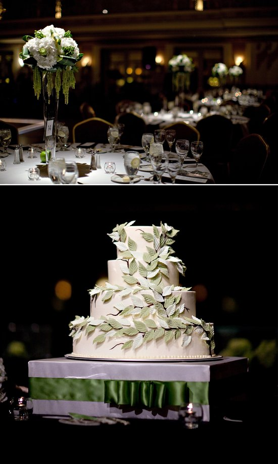 Elegant ivory wedding cake adorned with sugar leafs, whimsical wedding flower centerpieces