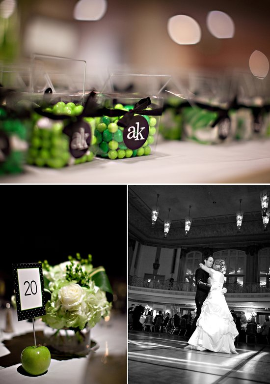 Personalized green and black wedding guest favors
