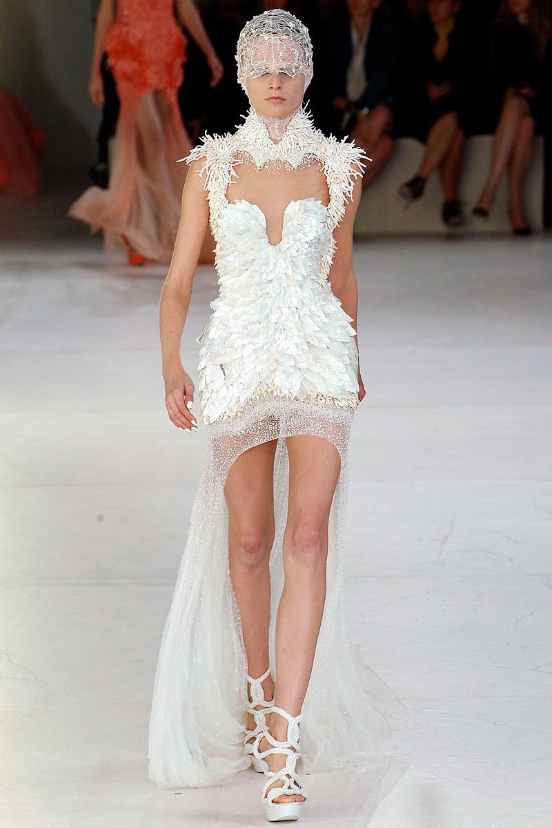white wedding reception dress by Alexander McQueen