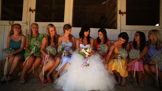Mix and match bridesmaids dresses for an outdoor ranch wedding