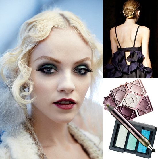 Jewel-toned bridal makeup, sleek wedding hairstyle