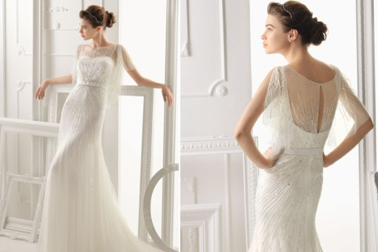 Aire Barcelona flutter sleeve wedding dress 2014 2