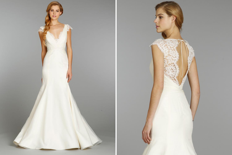 Jim hjelm blush lace wedding dress high cut wedding dresses for Lace blush wedding dress