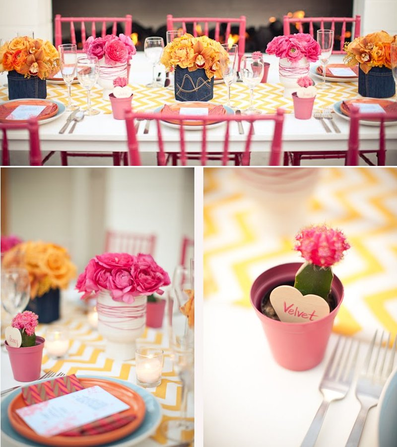 Outdoor Wedding Reception With Retro Decor And Colorful Wedding Flowers