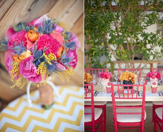 Bright bridal bouquet, outdoor summer wedding tabletop