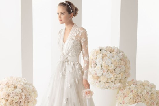 Two by Rosa Clara wedding dress with sheer petal adorned sleeves