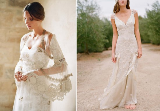 Romantic Claire Pettibone sleeved wedding dresses