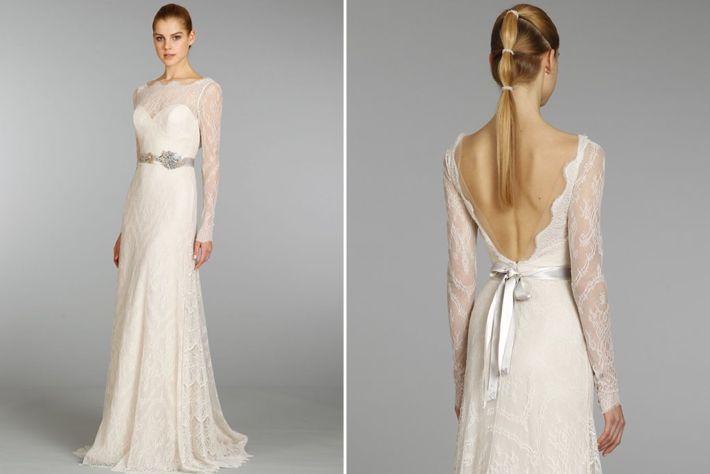 lazaro lace sleeved wedding dress 2013 bridal