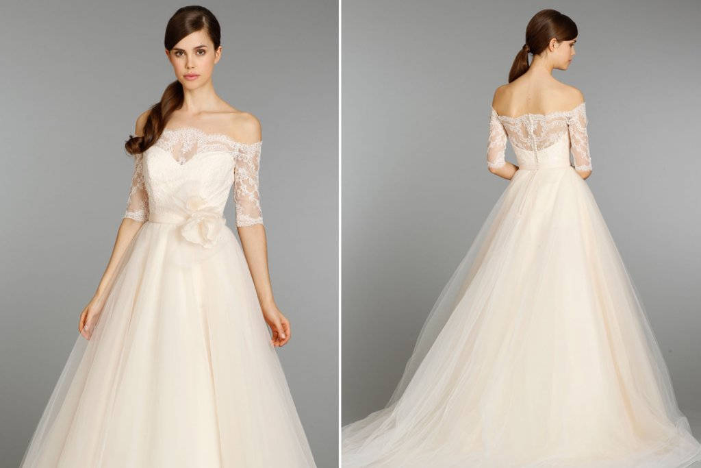 Peach Wedding Dress With Sleeves