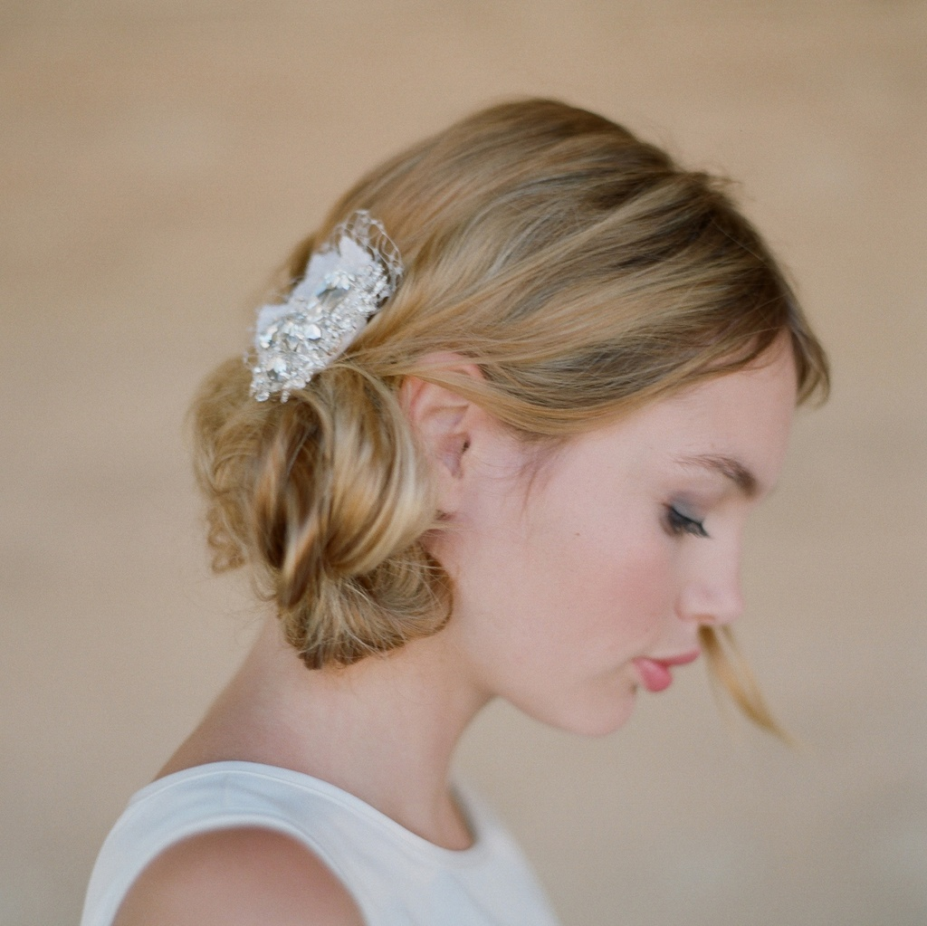 inspired bridal hair barrette and wedding updo