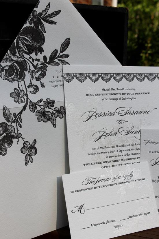 Romantic Foil Stamped Letterpress