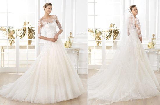 Sheer sleeved wedding dress by Pronovias