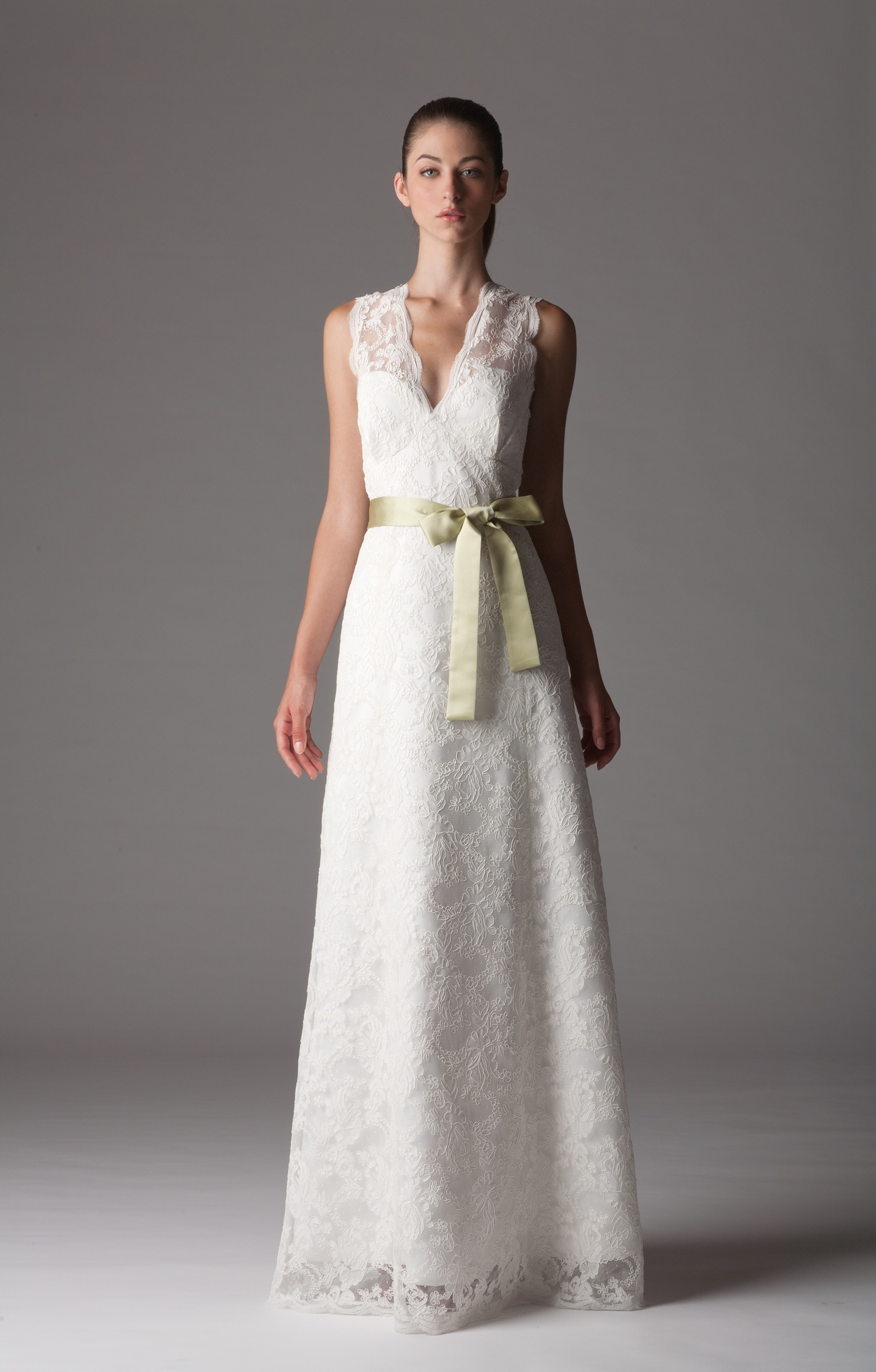 lace wedding dress with v neck and modified aline