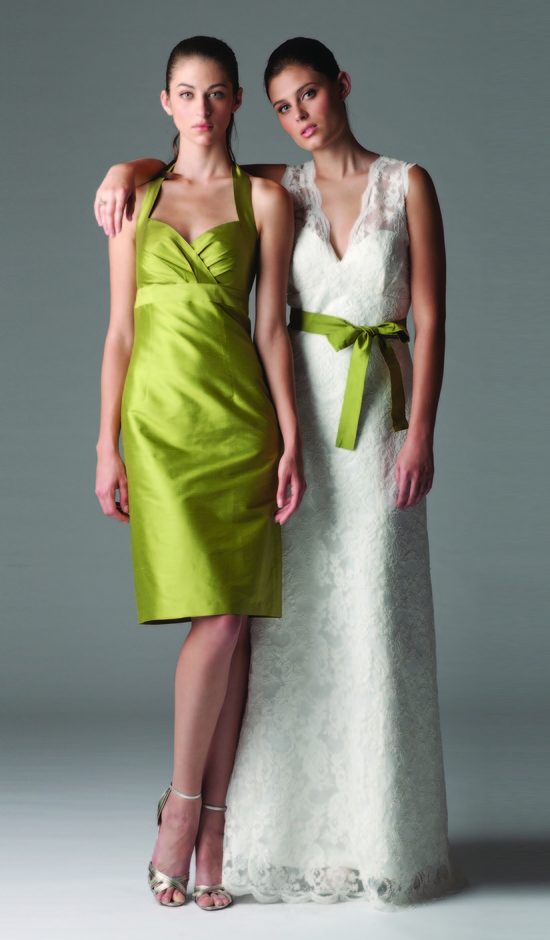 Green halter bridesmaid dress, lace v-neck bridal gown