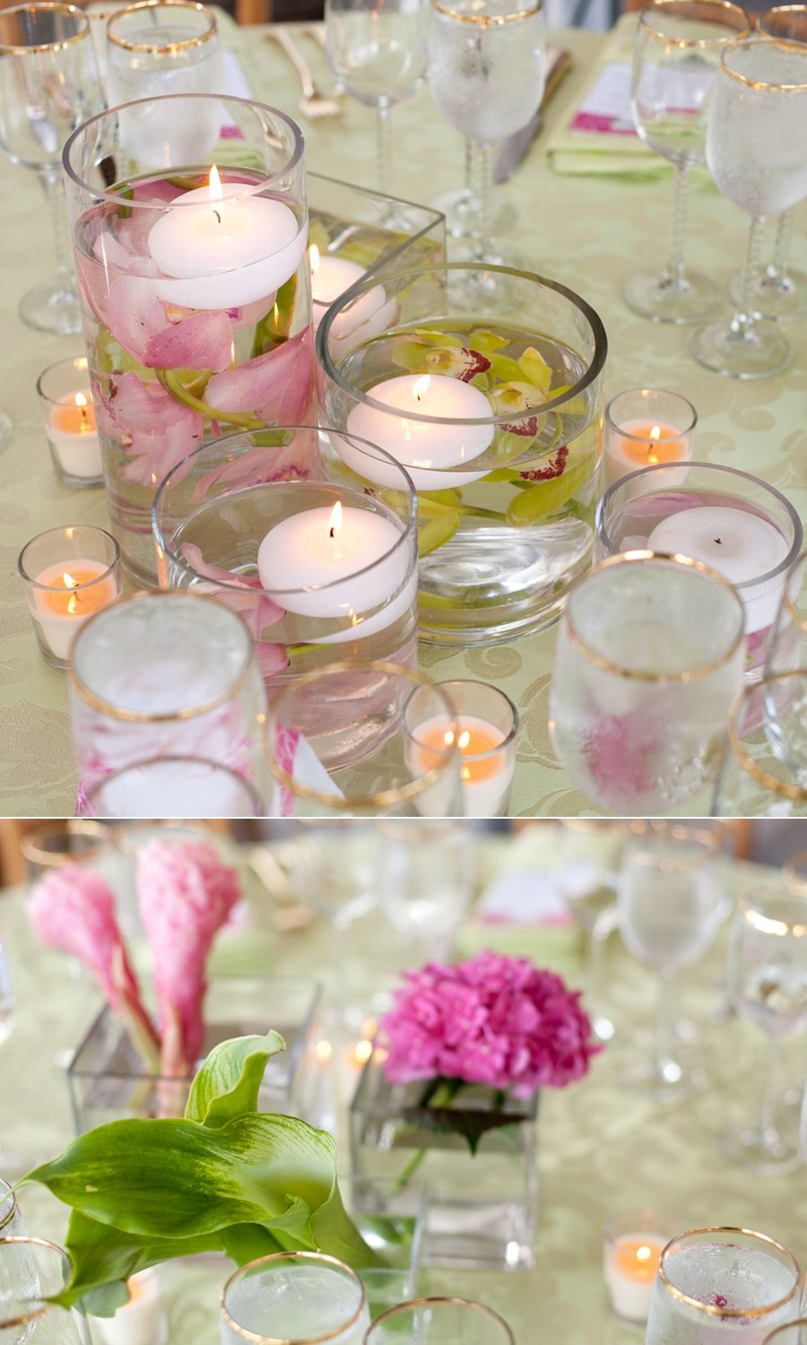Wedding Flowers For Venue : Floating candles with tropical flowers for wedding