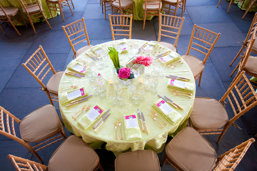 Elegant green and pink wedding reception tablescape