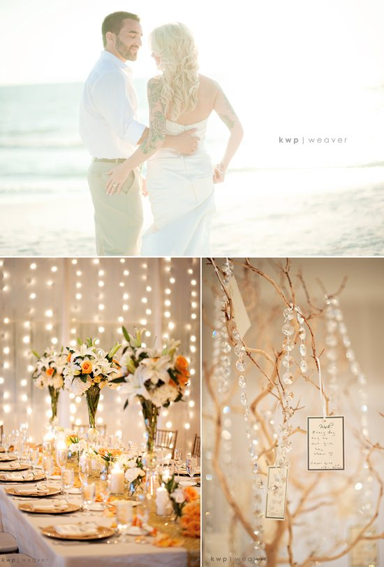 Beach bride and groom kiss near ceremony venue, elegant fall wedding decor