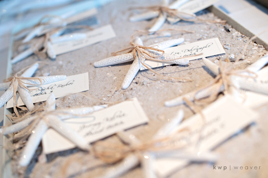 Elegant beach wedding decor- wedding reception escort cards