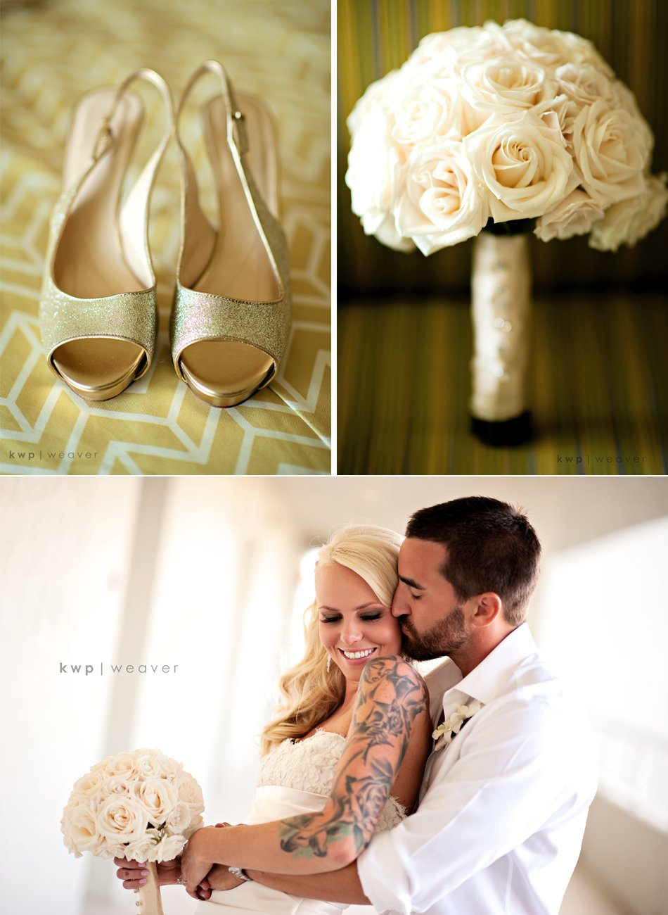 Glamourous Tattooed Bride Wears Gold Peep Toe Wedding Shoes Holds Ivory Bridal Bouquet Of Roses