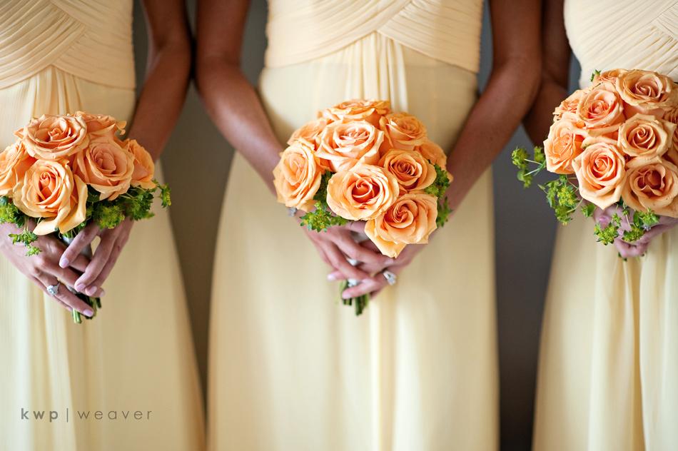 bridesmaids wear pale yellow bridesmaids dresses orange