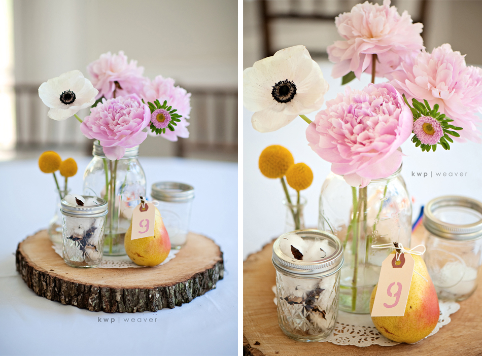 Vintage romance wedding reception centerpieces