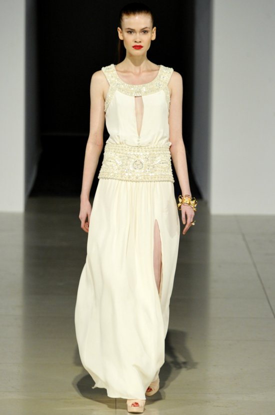 Ivory grecian-inspired Temperley London wedding dress