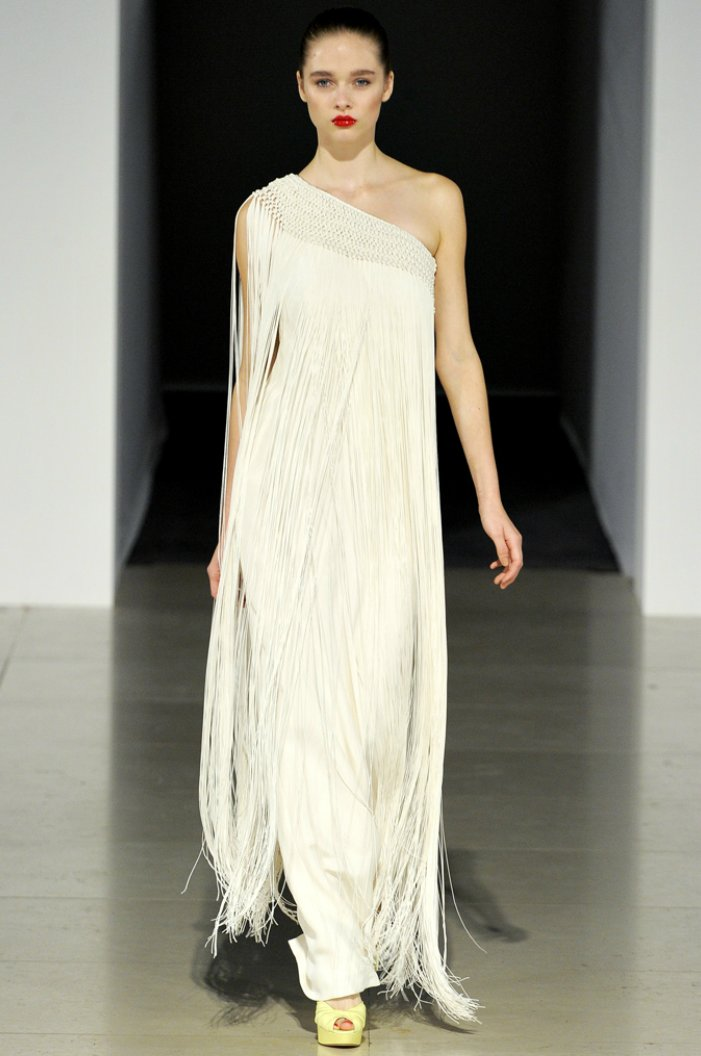 Vintage-inspired one-shoulder wedding dress with fringe
