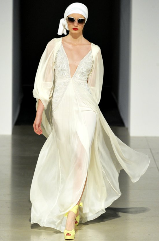 Temperley London ivory v-neck wedding dress