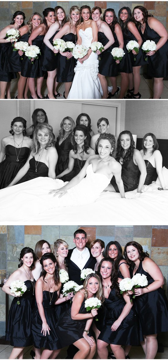 Virginia bride poses with bridesmaids in black bridesmaids dresses