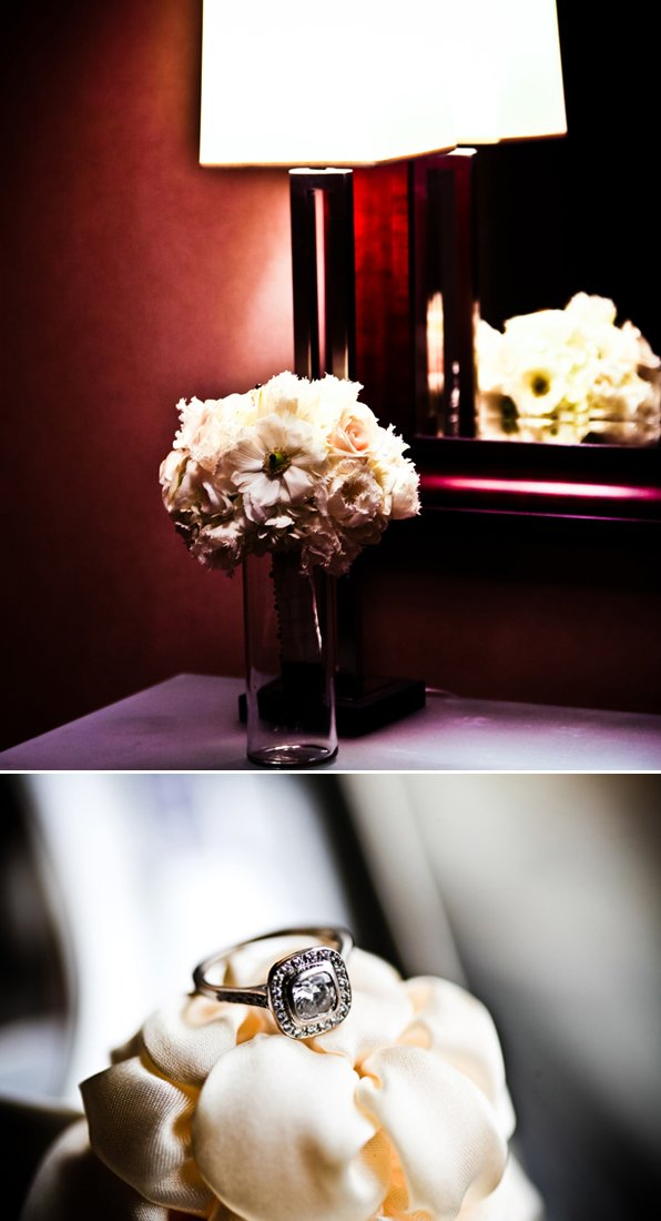 Ivory-wedding-flowers-cushion-cut-diamond-engagement-ring.full