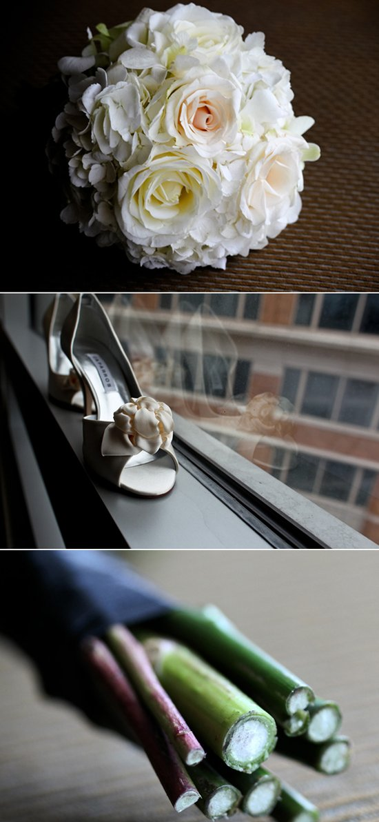 Elegant ivory bridal bouquet and open-toe wedding shoes