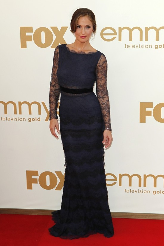 Romantic midnight blue lace gown at 2011 Emmys