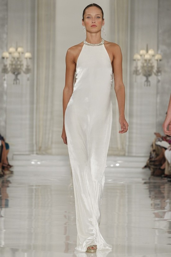 Sleek white silk halter wedding dress