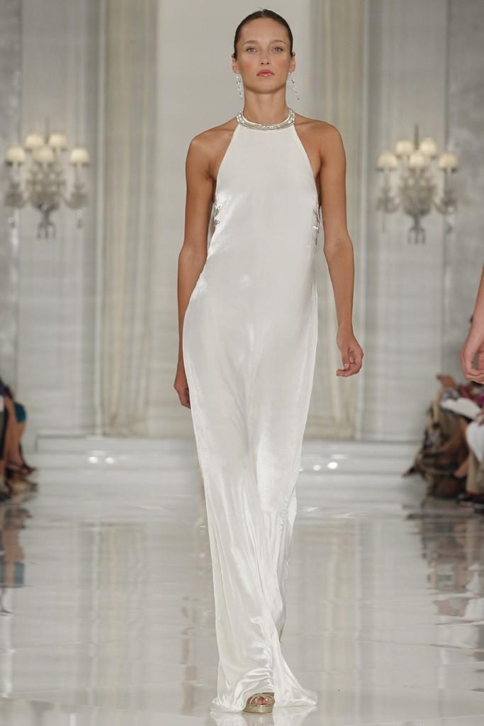 Sleek white silk halter wedding dress for White silk wedding dress