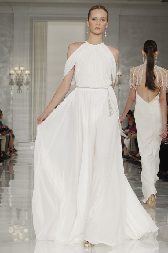 Grecian-inspired white beach wedding dress