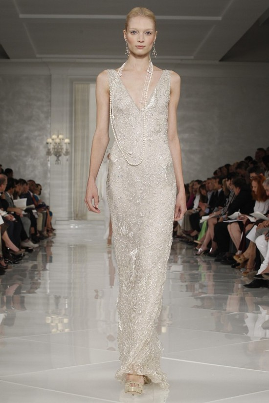 Champagne sheath Ralph Lauren wedding dress