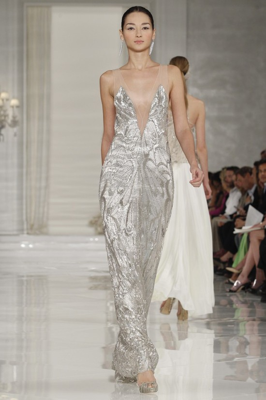 Deep v-neck metallic wedding dress with sheer illusion straps