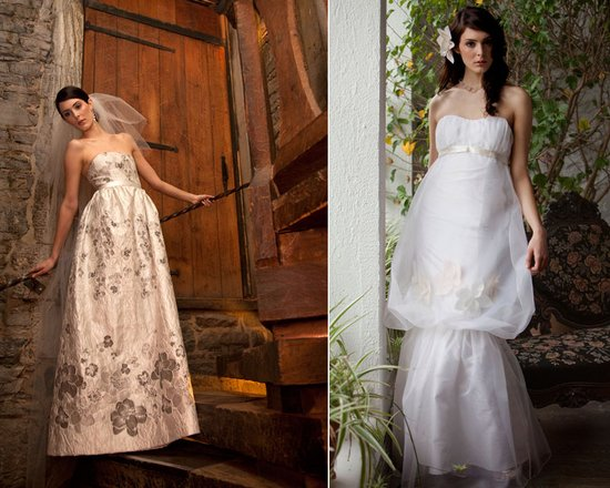 Strapless empire wedding dress and bohemian chic bridal gown with peplum