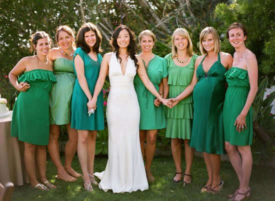 Mix and match green bridesmaids dresses