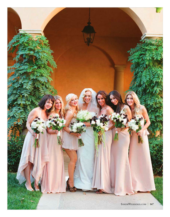 Celebrity wedding with mix and match bridesmaids dresses | OneWed.com